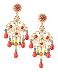 Jose & Maria Barrera | Multicolor Beaded Chandelier Clip Earrings | Lyst