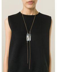Lanvin | Gray Crystal Pendant Necklace | Lyst