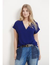 Violeta by Mango | Blue Flowy Textured Blouse | Lyst