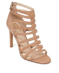Vince Camuto | Natural Kamella Leather Strappy Open-Toe Sandals | Lyst