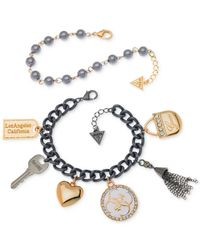 Guess Gray Two-tone Charm And Imitation Pearl Bracelet Set