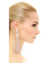 Oscar de la Renta White Long Bugle Bead Tassel Clip On Earrings
