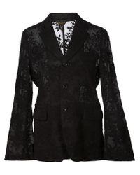 Comme des Garçons - Black Embroidered Wool-Blend Jacket - Lyst