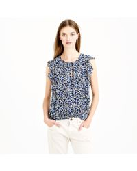 J.Crew - Cascade Blouse in Blue Floral - Lyst