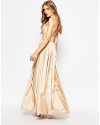 Fame & Partners Pink Plunge Neck Serpent Maxi Dress