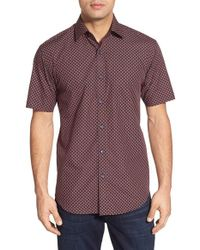 Bugatchi | Red Shaped Fit Short Sleeve Dot Print Sport Shirt for Men | Lyst
