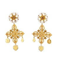 Dolce & Gabbana - Metallic Rose And Charm Embellished Earrings - Lyst