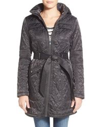 Vince Camuto | Gray Belted Quilted Coat | Lyst