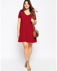 ASOS - Red Button Front Swing Dress - Lyst