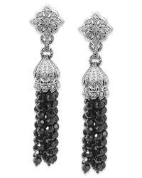 Macy's - Metallic Sterling Silver Earrings, Faceted Onyx (39-5/8 Ct. T.w.) And Diamond (3/8 Ct. T.w.) Tassel Drop Earrings - Lyst