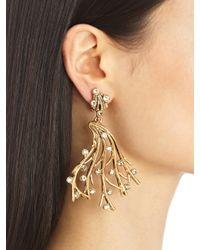 Oscar de la Renta Metallic Swarovski Crystal Vine Earrings