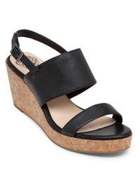 Vince Camuto Black Ansel Espadrilles Wedge Leather Sandals
