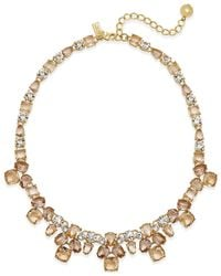 kate spade new york | Metallic Gold-tone Pink Stone Necklace | Lyst
