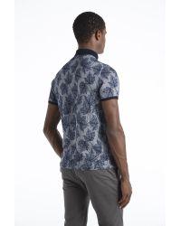 Ted Baker - Blue Leaf Print Polo Shirt for Men - Lyst