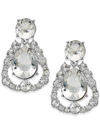 kate spade new york | Metallic Silver-Tone Crystal Chandelier Teardrop Earrings | Lyst