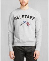 Belstaff - Gray Flags Crew Neck Sweatshirt In Light Grey Cotton Fleece for Men - Lyst
