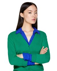 Cárdigan De 100% Lana Virgen Con Escote De Pico Benetton de color Green