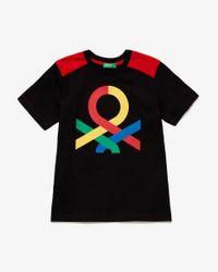 Camiseta Con Inserciones De Malla Benetton de color Black
