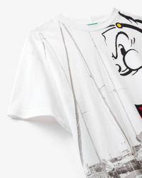 Camiseta De Popeye Con Estampado Benetton de hombre de color White