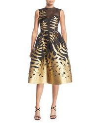 Oscar de la Renta - Metallic Leaf Fil Coupe Cocktail Dress - Lyst