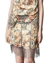 Haute Hippie Multicolor The Orian Printed Mini Skirt W/ Embellishments