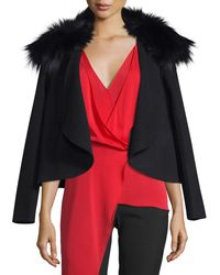 Halston Heritage - Multicolor Draped Open-front Jacket W/ Removable Fox Fur Collar - Lyst