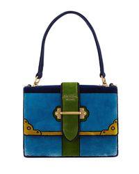 d39e2c6553f8 Prada Trompe L oeil Velvet Cahier Buckle Bag in Blue - Lyst