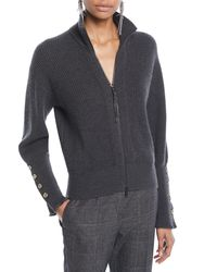 Brunello Cucinelli - Gray Mock-neck Zip-front Ribbed Cashmere Jacket W/ Brass Buttons On Cuff - Lyst