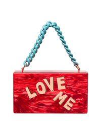 Edie Parker Red Love Me Block Letter Jean Clutch
