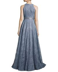 Carmen Marc Valvo - Blue Sleeveless Metallic Floral Gown - Lyst