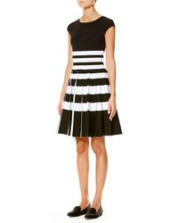 Carolina Herrera   Black Striped Cap-sleeve Pleated Dress   Lyst