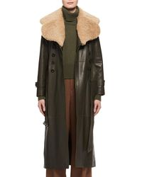 Chloé - Green Shearling Fur-lined Leather Trenchcoat - Lyst