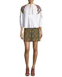 Valentino - Multicolor Geometric Beaded Mini Skirt - Lyst