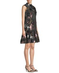 Erdem - Black Mock-neck Sleeveless A-line Metallic-floral Dress - Lyst