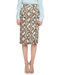 Altuzarra - Natural Curry Python-print Pencil Skirt - Lyst