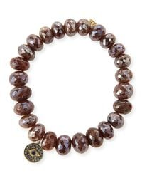 Sydney Evan - 8mm Faceted Brown Silverite Beaded Bracelet With 14k Diamond Evil Eye Disc Charm - Lyst