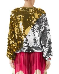 Gucci Multicolor Long-sleeve Lurex® Paillette Embroidered Top