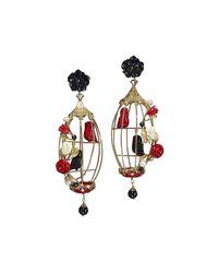 Of Rare Origin - Multicolor Lovebird Onyx & Coral Drop Earrings - Lyst