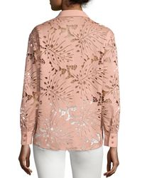 Self-Portrait - Pink Palm Guipure Lace Long-sleeve Shirt - Lyst