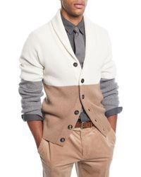 Brunello Cucinelli - Natural Men's Colorblock Shawl-collar Cardigan for Men - Lyst