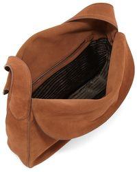 Prada - Brown Suede Doubled Flap-top Medium Hobo Bag - Lyst