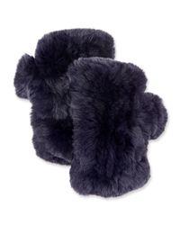Surell Blue Fingerless Fur Mittens