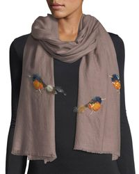 K. Janavi | Brown Embellished Birds Shawl | Lyst
