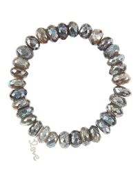 Sydney Evan | 10Mm Mystic Labradorite Beaded Bracelet With 14K White Gold/Diamond Small Love Charm (Made To Order) | Lyst