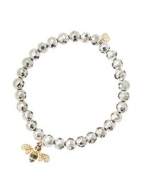 Sydney Evan Metallic 6mm Faceted Silver Pyrite Beaded Bracelet With 14k Gold/diamond Bee Charm (made To Order)