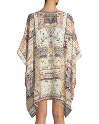 Camilla - Multicolor Printed Embellished Silk Caftan - Lyst