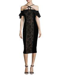 Notte by Marchesa Black Velvet Off-the-shoulder Midi Cocktail Dress W/ Lace