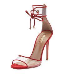 Aquazzura Red Optic D'orsay Suede Sandals