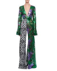 Halpern - Green Deep-v Bell-sleeve Abstract Floral & Zebra Sequin Flared-leg Jumpsuit - Lyst