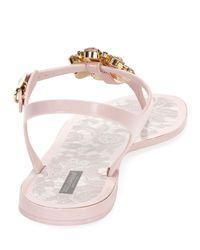 Dolce & Gabbana Pink Jeweled Thong Flat Sandal